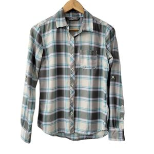 The North Face Button Down High Low Plaid Blouse